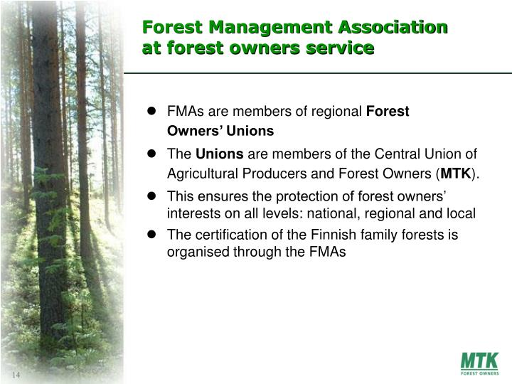 Forest Management Association at forest owners service