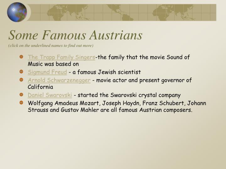 Some Famous Austrians