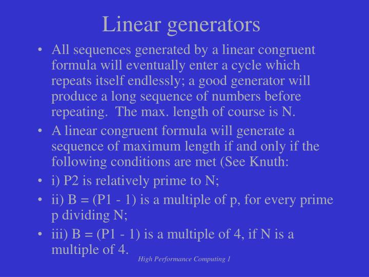 Linear generators