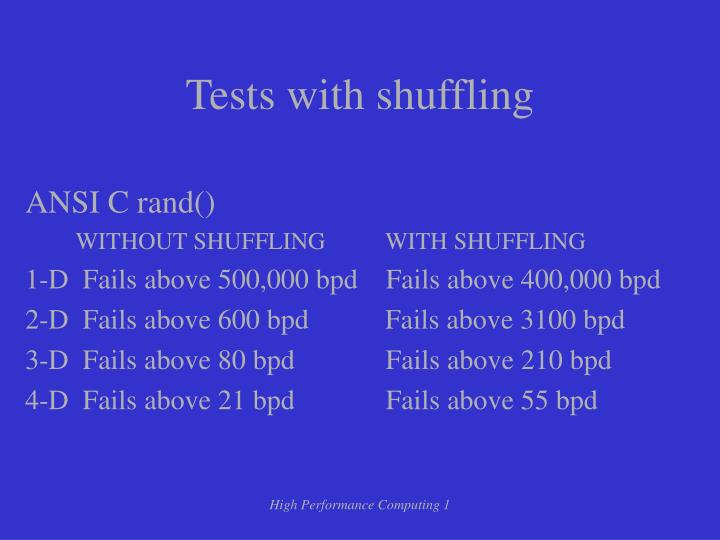Tests with shuffling