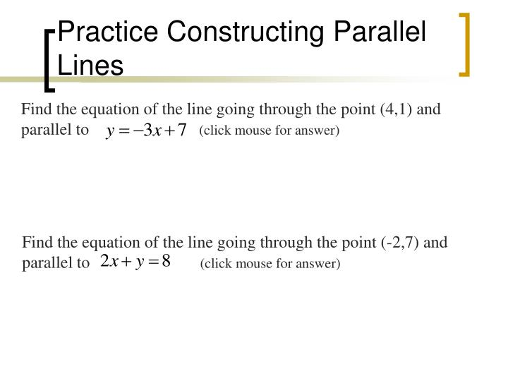 Practice Constructing Parallel Lines