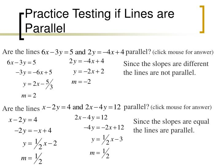 Practice Testing if Lines are Parallel