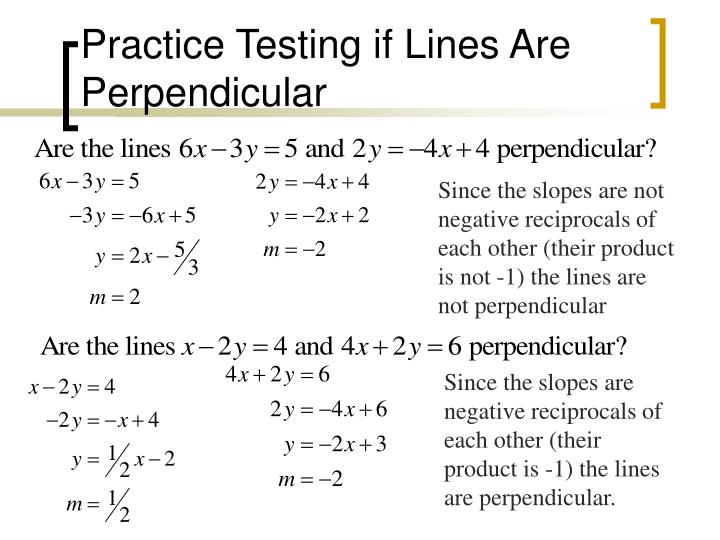 Practice Testing if Lines Are Perpendicular