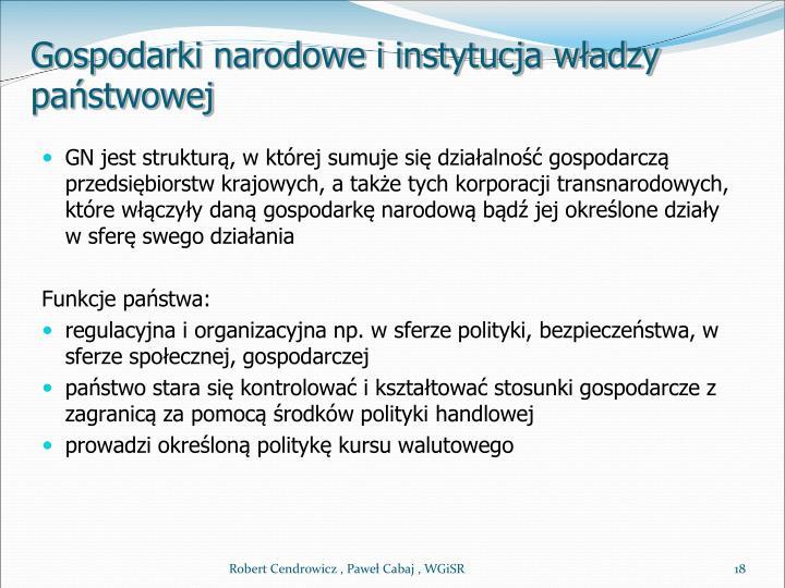 Gospodarki narodowe i instytucja władzy państwowej