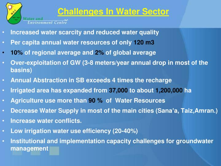 Challenges In Water Sector
