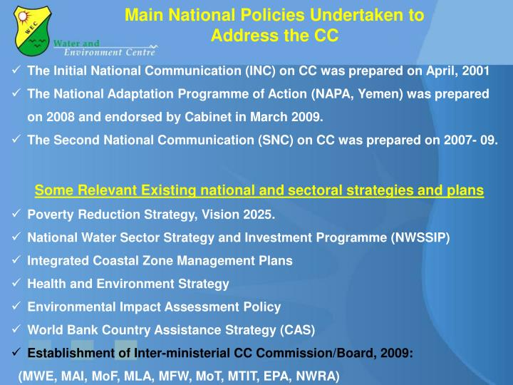 Main National Policies Undertaken to Address the CC
