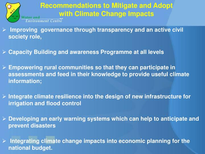 Recommendations to Mitigate and Adopt with Climate Change Impacts