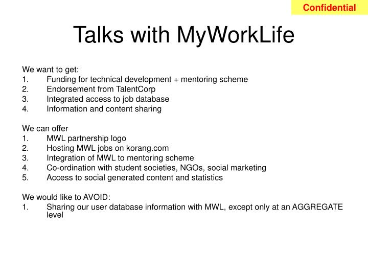 Talks with MyWorkLife