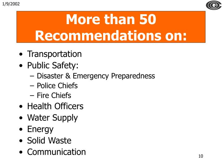 More than 50 Recommendations on: