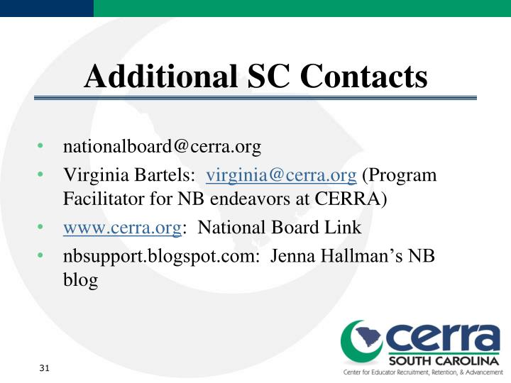 Additional SC Contacts