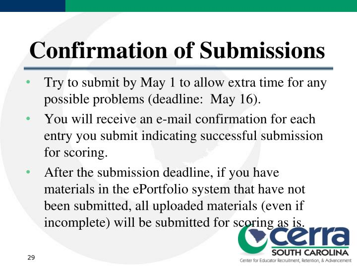Confirmation of Submissions