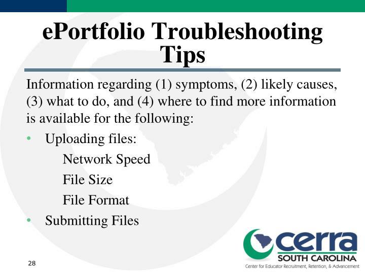 ePortfolio Troubleshooting Tips