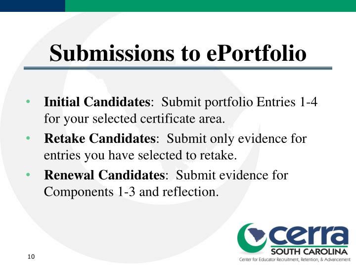 Submissions to ePortfolio