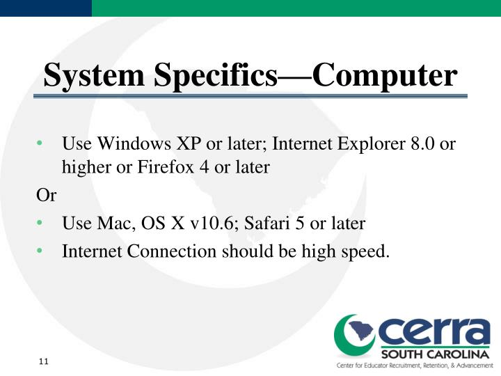 System Specifics—Computer