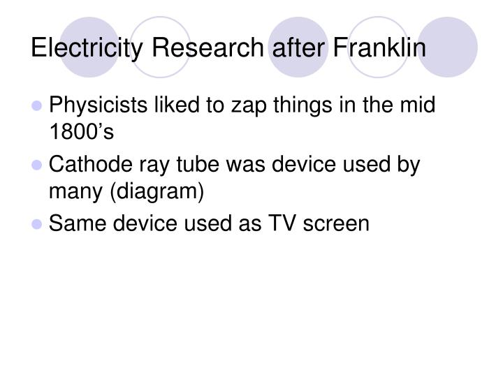 Electricity Research after Franklin