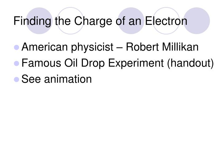 Finding the Charge of an Electron