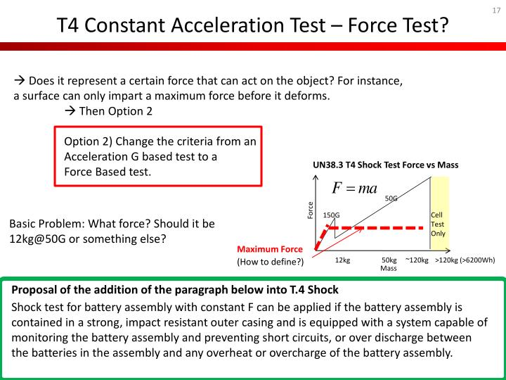 T4 Constant Acceleration Test – Force Test?