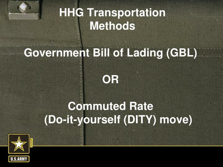 Government Bill of Lading (GBL)