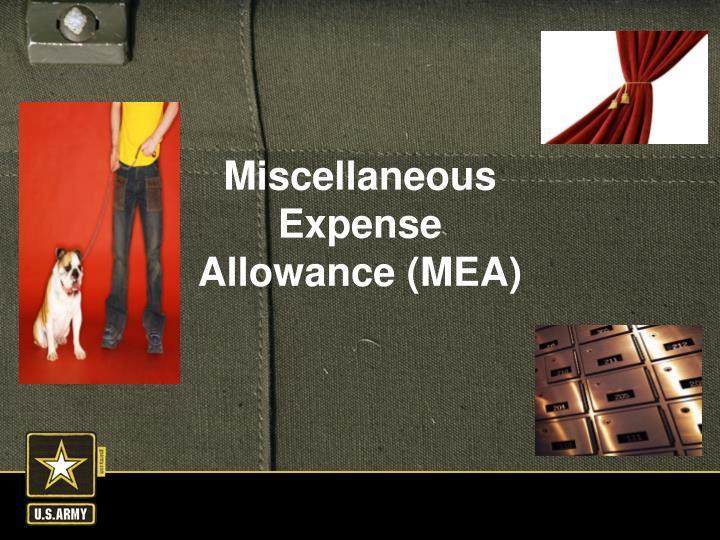 Miscellaneous Expense Allowance (MEA)