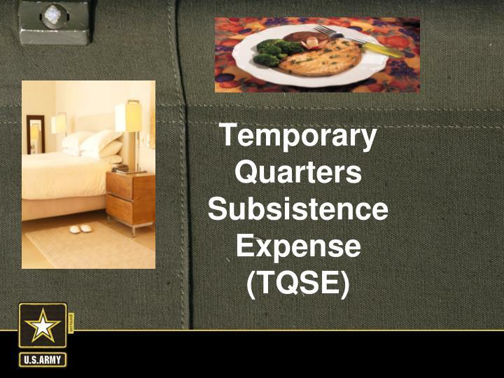 Temporary Quarters Subsistence Expense (TQSE)