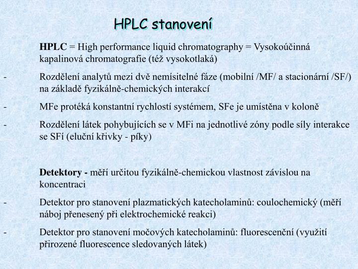 HPLC stanovení