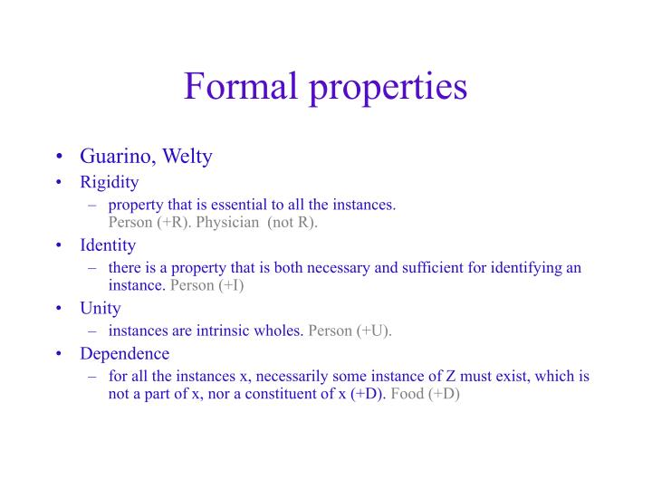 Formal properties