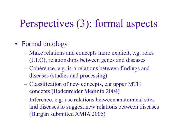 Perspectives (3): formal aspects