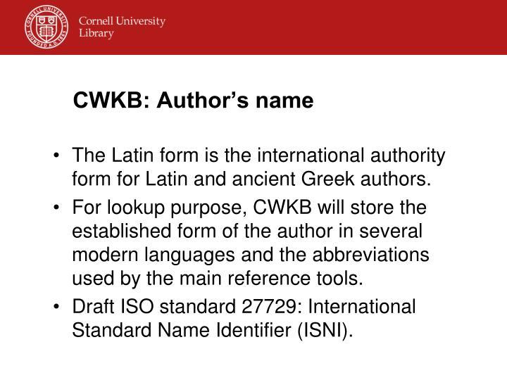 CWKB: Author's name