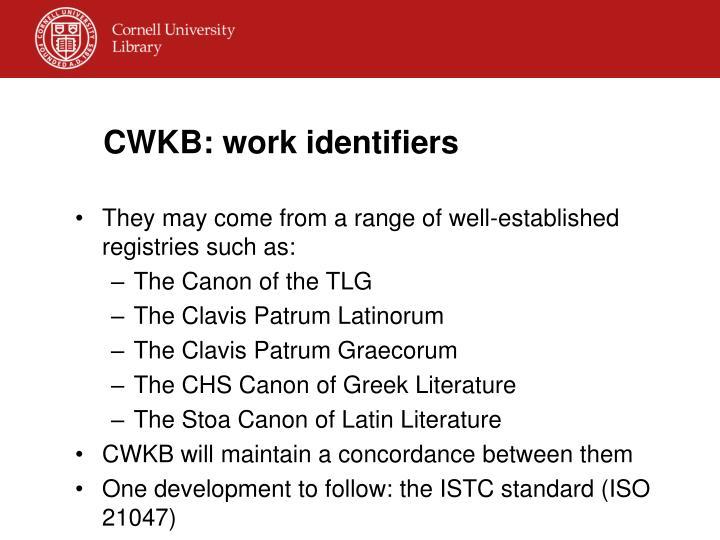 CWKB: work identifiers