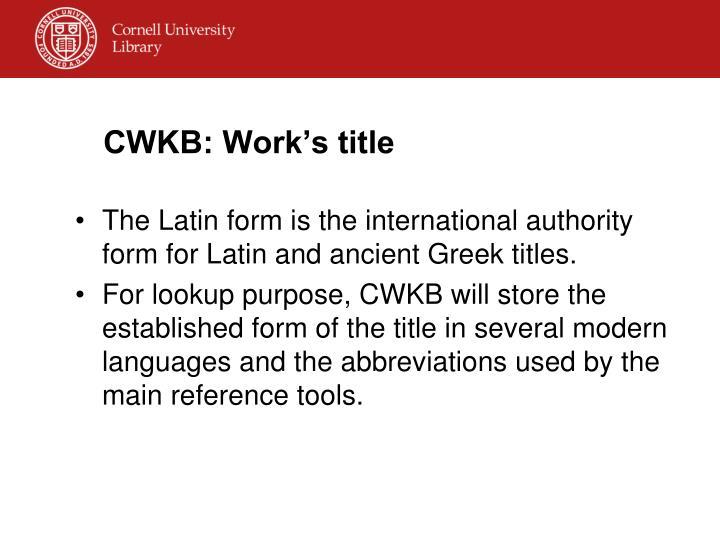 CWKB: Work's title