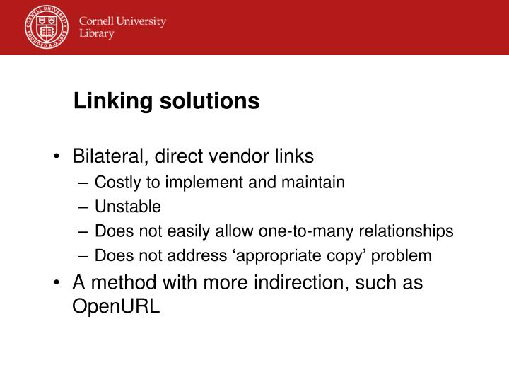 Linking solutions