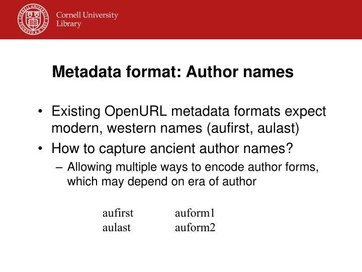 Metadata format: Author names