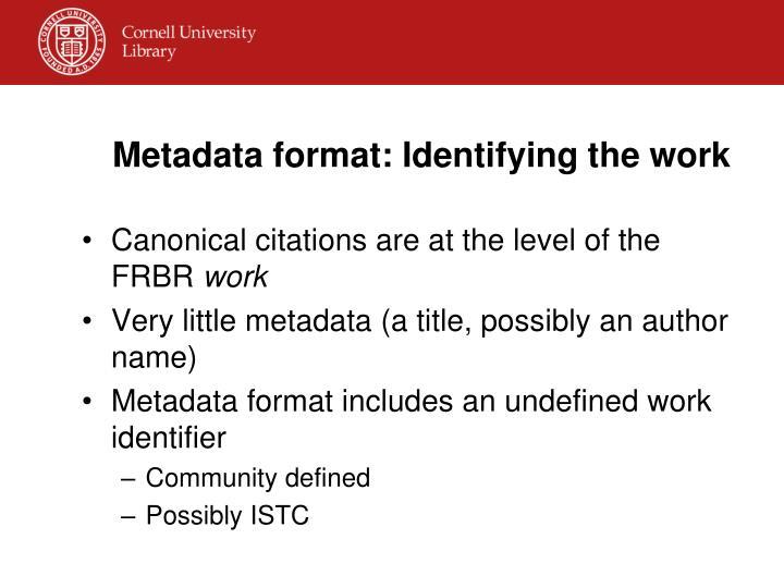 Metadata format: Identifying the work
