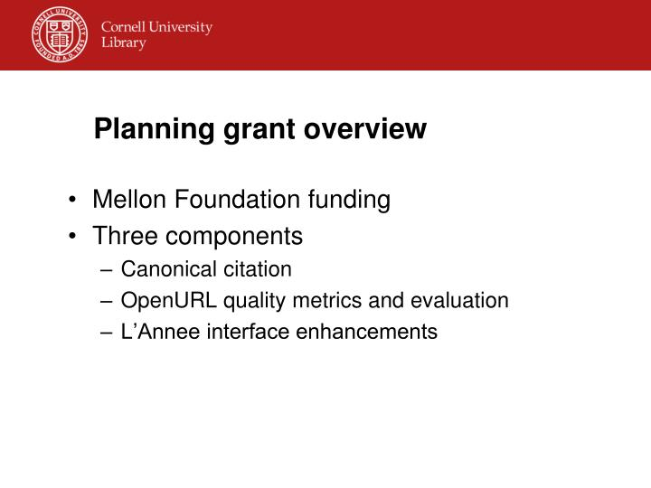 Planning grant overview