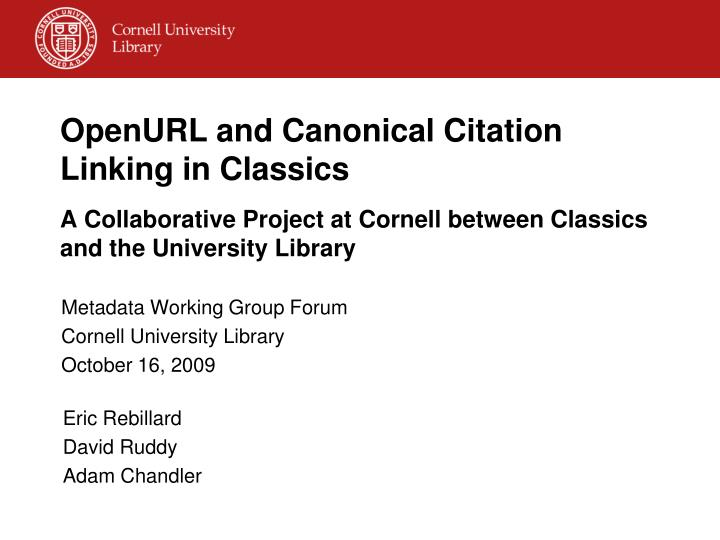 OpenURL and Canonical Citation Linking in Classics