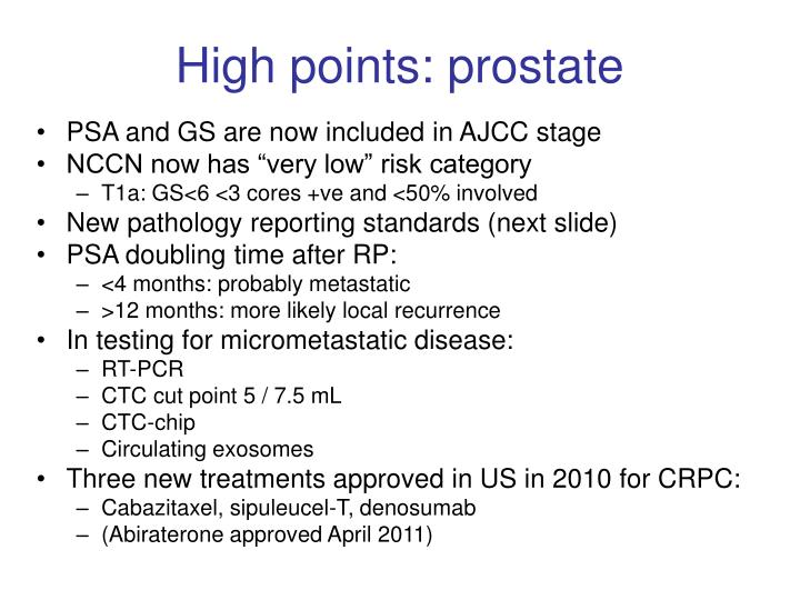 High points: prostate
