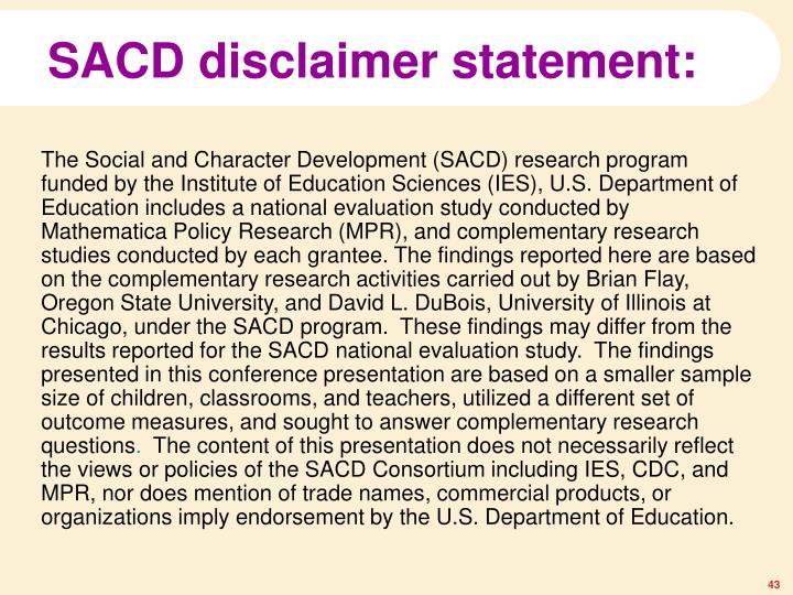 SACD disclaimer statement: