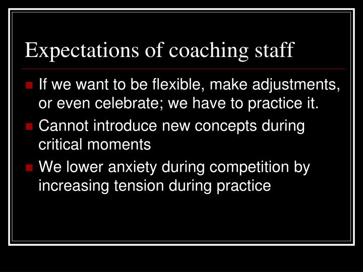 Expectations of coaching staff