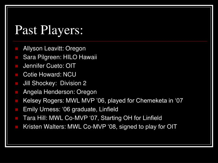 Past Players: