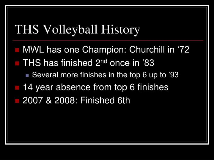 THS Volleyball History