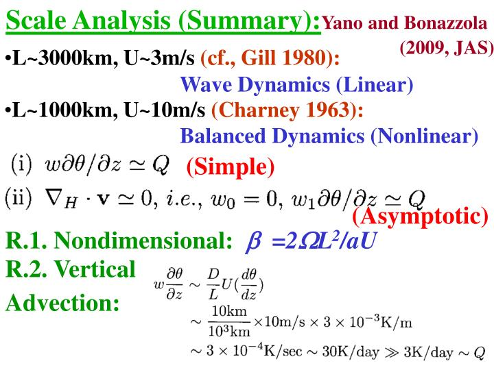 Scale Analysis (Summary):