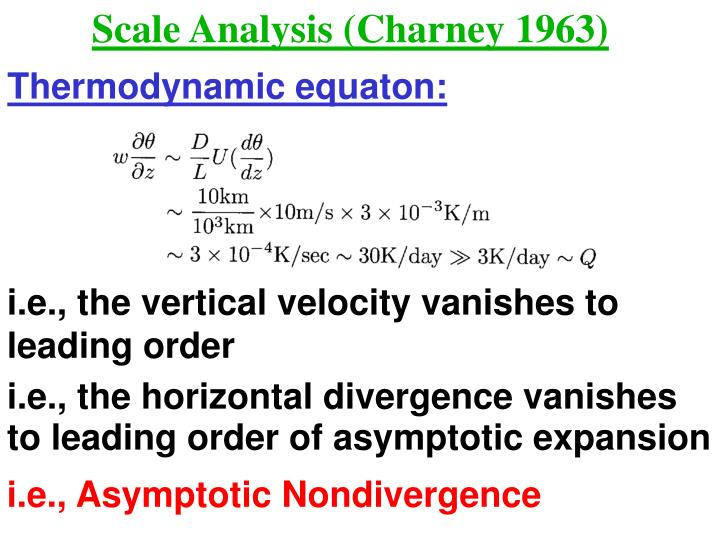Scale Analysis (Charney 1963)