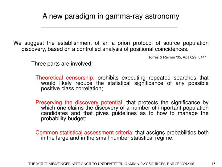 A new paradigm in gamma-ray astronomy