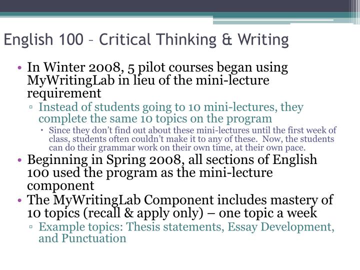 English 100 – Critical Thinking & Writing