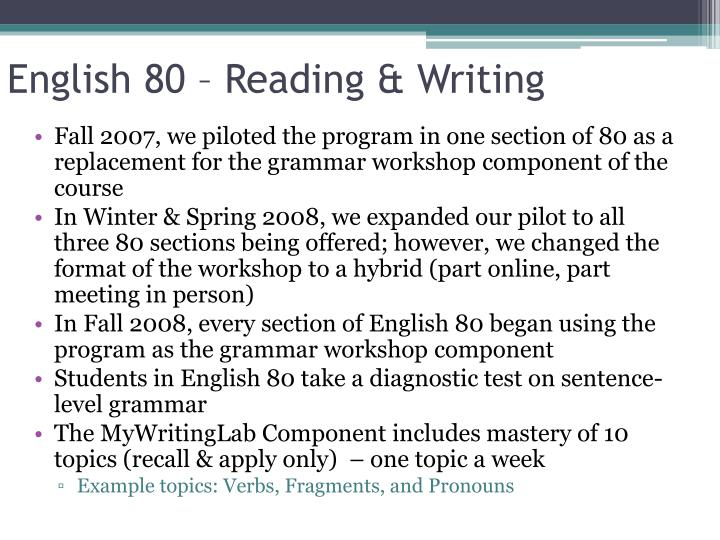 English 80 – Reading & Writing