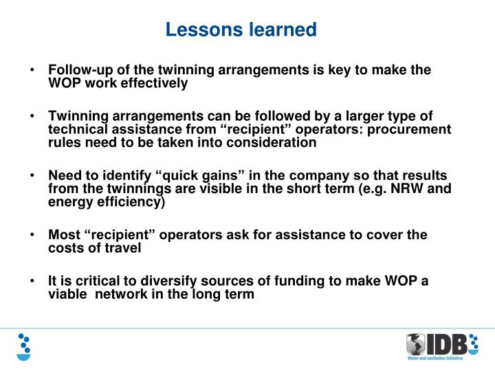 Follow-up of the twinning arrangements is key to make the WOP work effectively