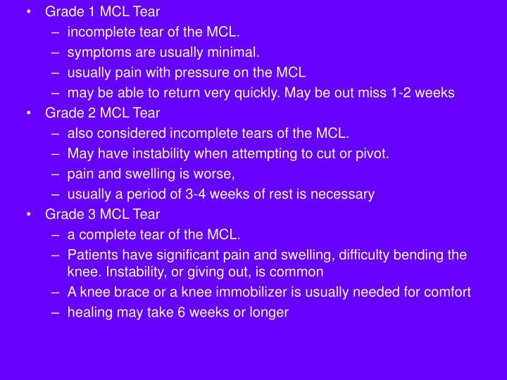 Grade 1 MCL Tear