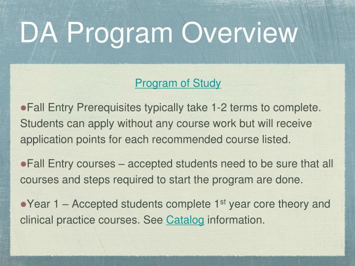 DA Program Overview
