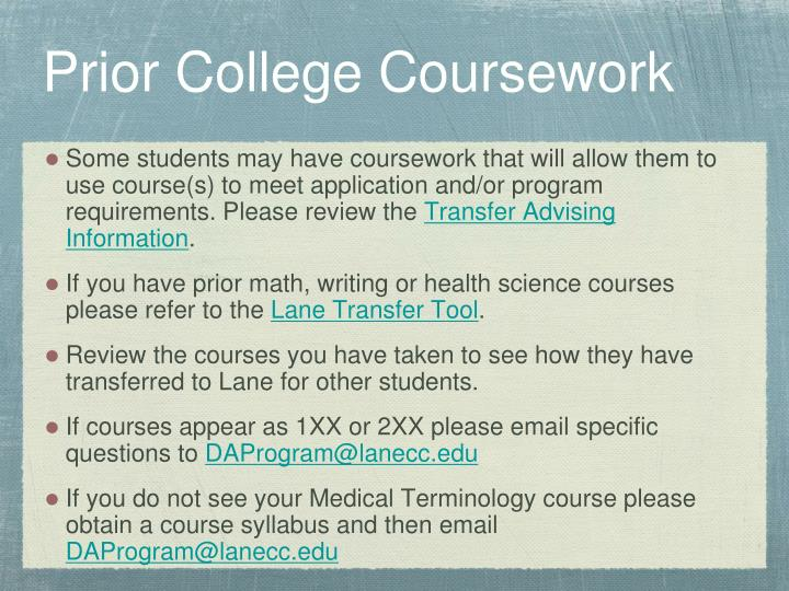Prior College Coursework