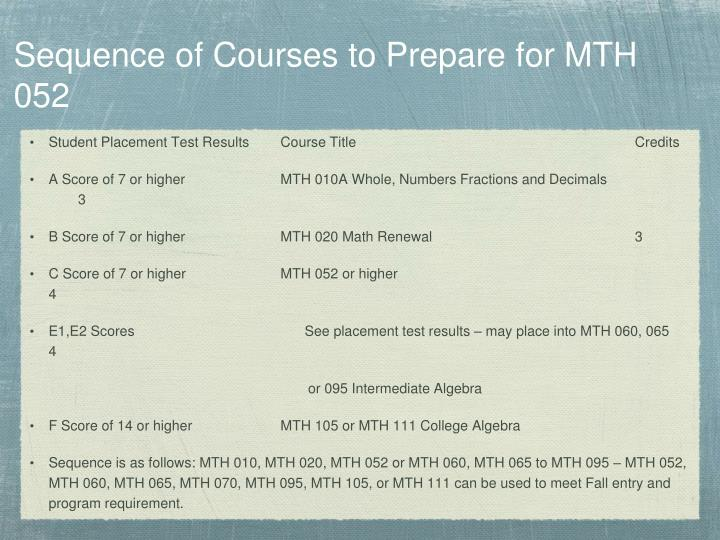 Sequence of Courses to Prepare for MTH 052